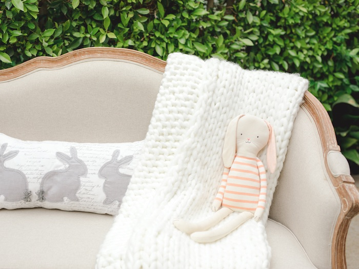 Bunny Pillow + Plush from a Vintage Garden Baby Shower on Kara's Party Ideas | KarasPartyIdeas.com (30)