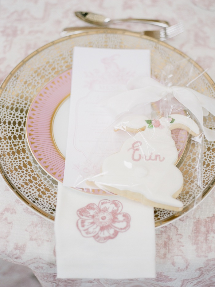 Pink + Gold Table Setting with Personalized Bunny Cookie from a Vintage Garden Baby Shower on Kara's Party Ideas | KarasPartyIdeas.com (27)
