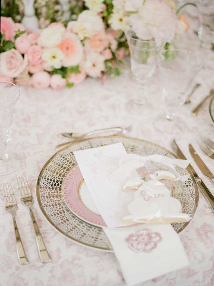 Pink + Gold Table Setting from a Vintage Garden Baby Shower on Kara's Party Ideas | KarasPartyIdeas.com (26)