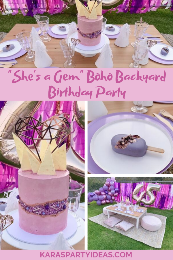 """She's a Gem"" Boho Backyard Birthday Party via Kara's Party Ideas - KarasPartyIdeas.com"