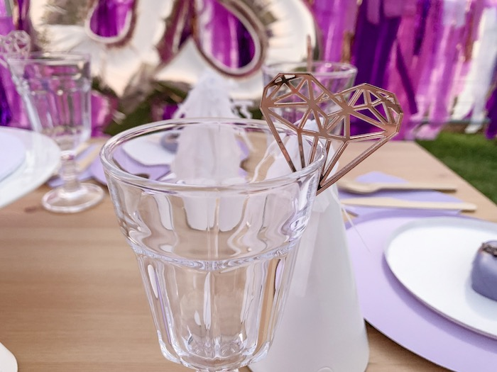 "Glass Goblet with Heart Gem Bunting from a ""She's a Gem"" Boho Backyard Birthday Party on Kara's Party Ideas 