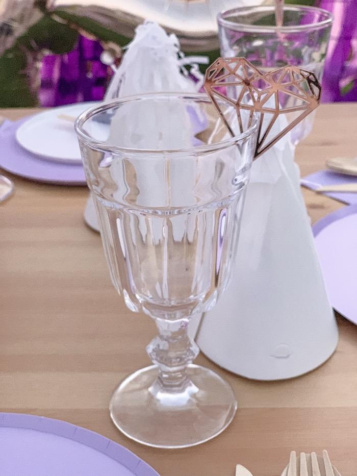 "Glass Goblet with Heart Gem Bunting from a ""She's a Gem"" Boho Backyard Birthday Party on Kara's Party Ideas   KarasPartyIdeas.com (6)"