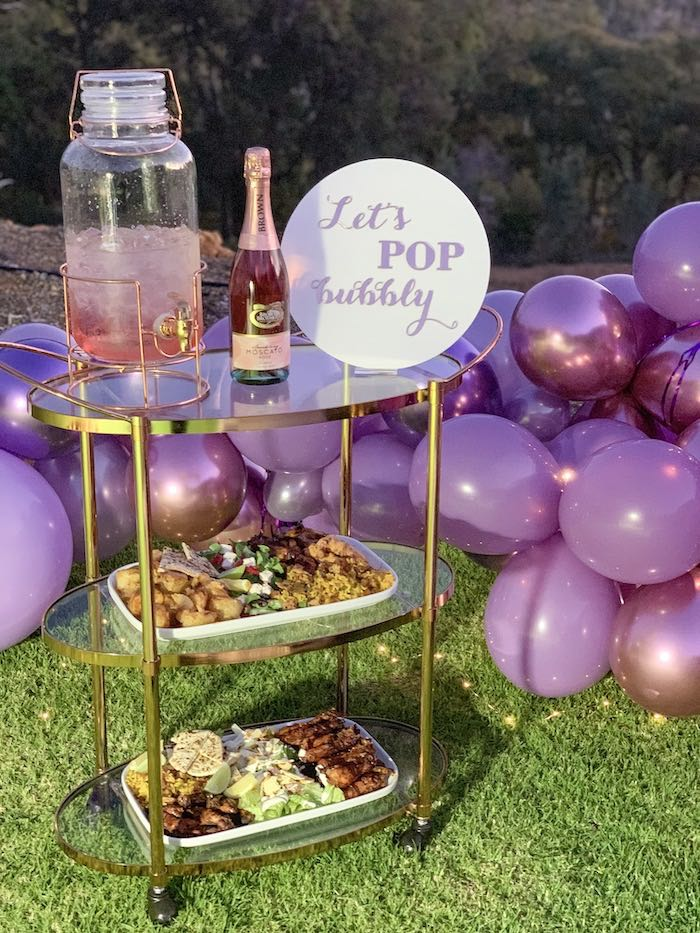 "Bubbly Bar from a ""She's a Gem"" Boho Backyard Birthday Party on Kara's Party Ideas 