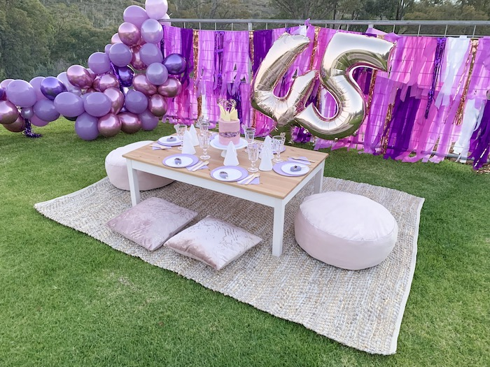 "Gem-inspired Guest Table from a ""She's a Gem"" Boho Backyard Birthday Party on Kara's Party Ideas 