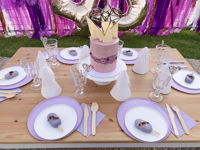 """Gem Themed Party Table + Table Settings from a """"She's a Gem"""" Boho Backyard Birthday Party on Kara's Party Ideas   KarasPartyIdeas.com (15)"""