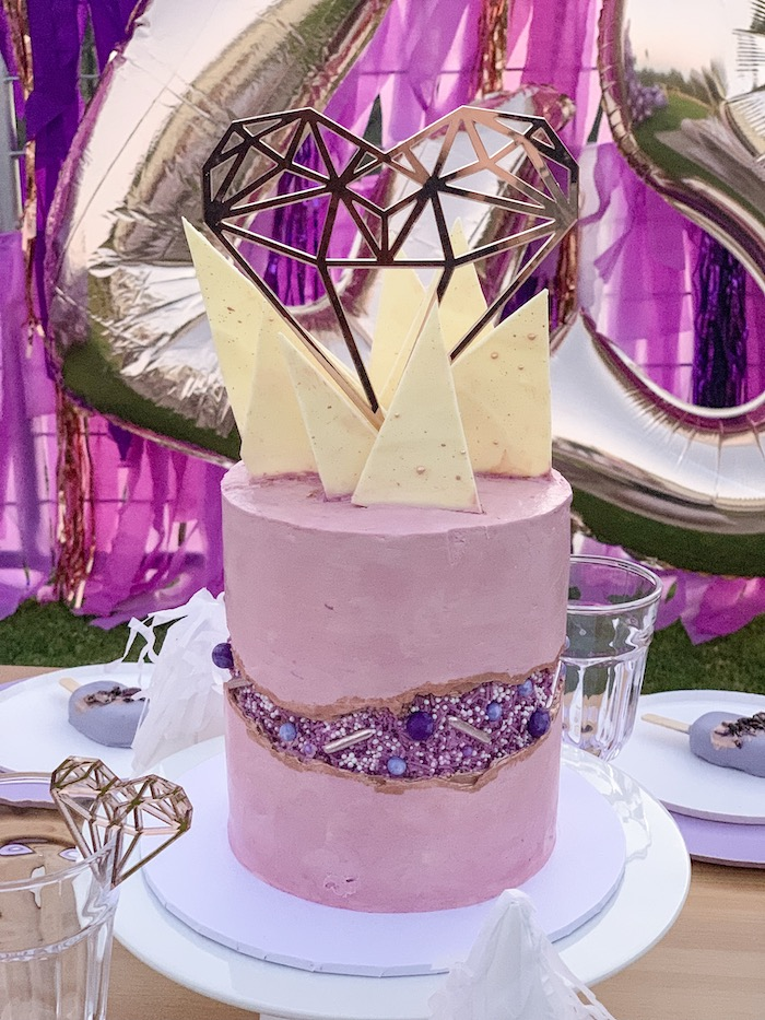 "Purple Gem Cake from a ""She's a Gem"" Boho Backyard Birthday Party on Kara's Party Ideas 