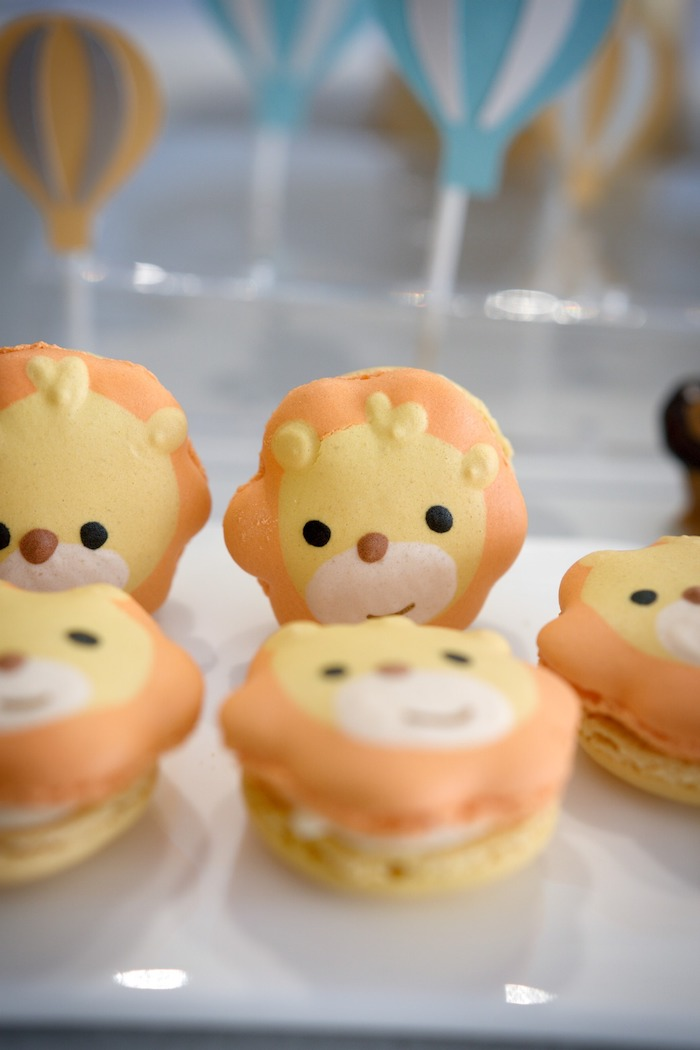 Lion Macarons from an Animals & Hot Air Balloons Birthday Party on Kara's Party Ideas | KarasPartyIdeas.com (10)