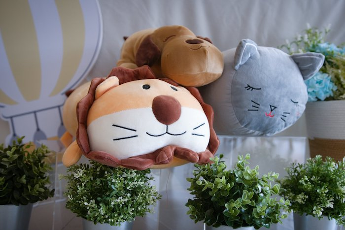 Plush Animal Pillows from an Animals & Hot Air Balloons Birthday Party on Kara's Party Ideas | KarasPartyIdeas.com (8)