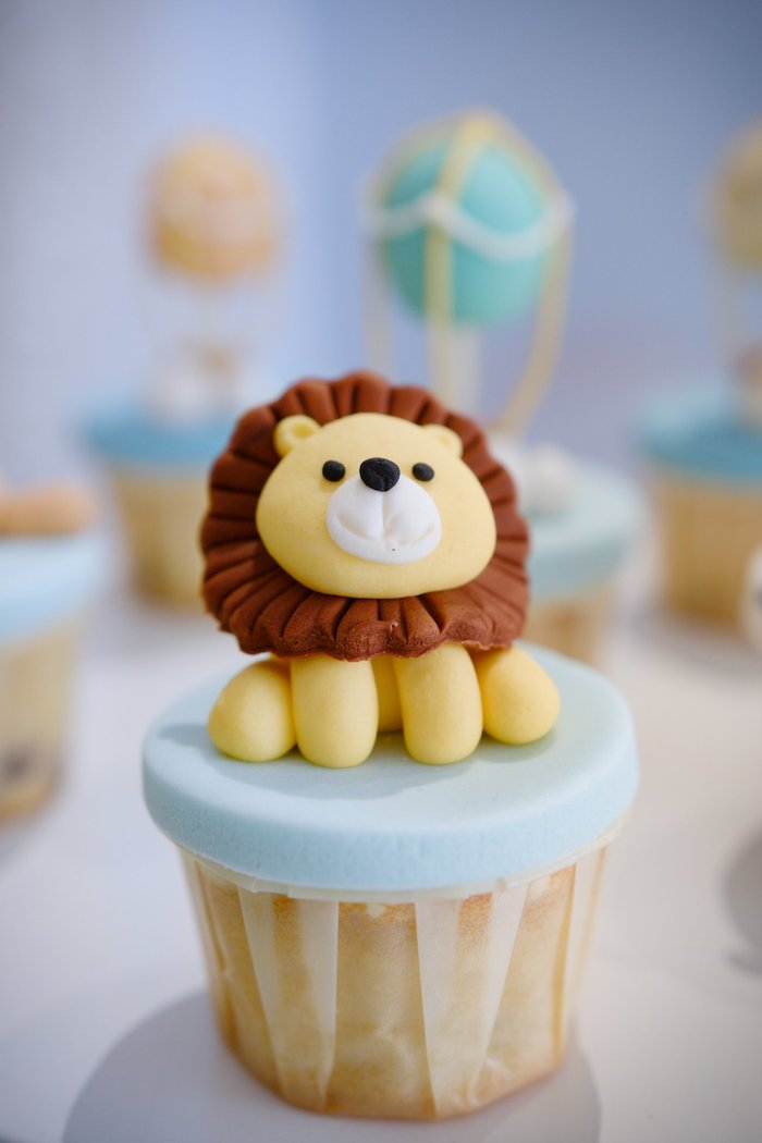Lion Cupcake + Cupcake Topper from an Animals & Hot Air Balloons Birthday Party on Kara's Party Ideas | KarasPartyIdeas.com (7)