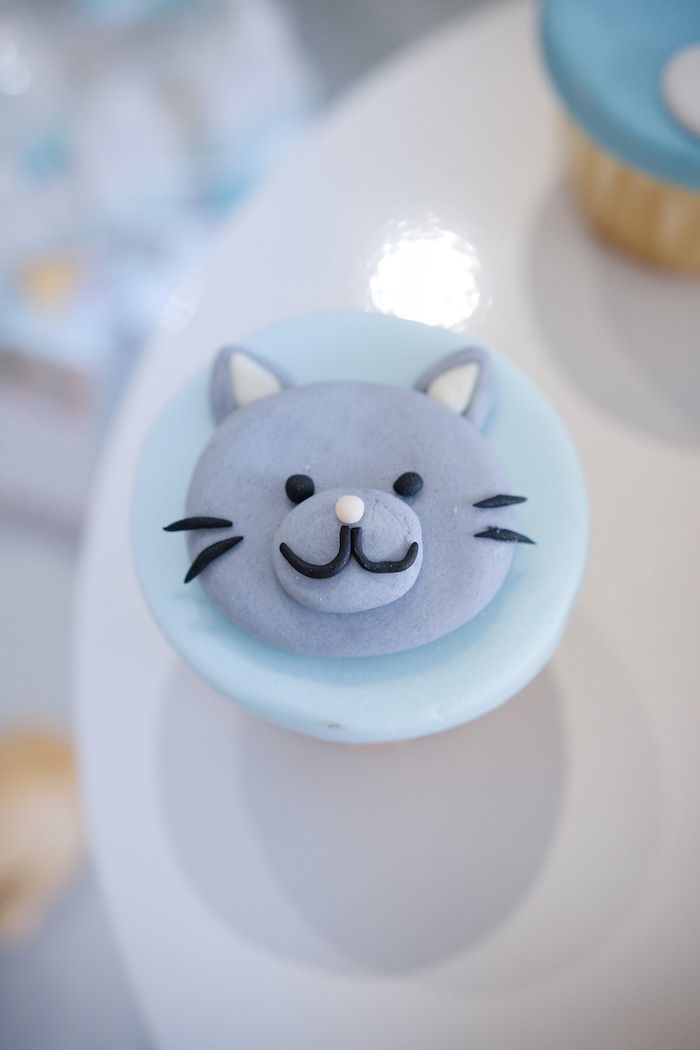 Cat Cupcake Topper from an Animals & Hot Air Balloons Birthday Party on Kara's Party Ideas | KarasPartyIdeas.com (5)