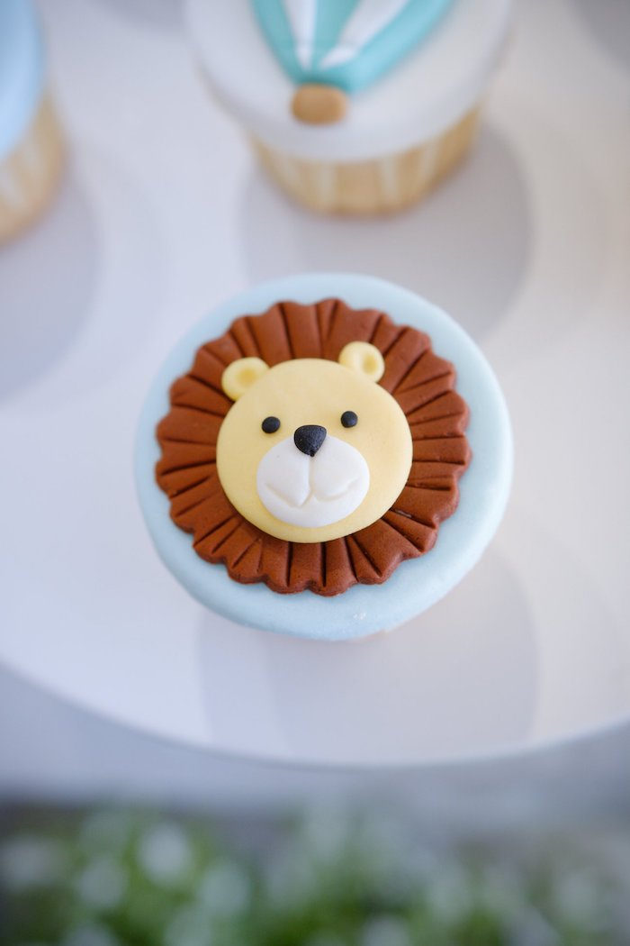 Fondant Lion Cupcake Topper from an Animals & Hot Air Balloons Birthday Party on Kara's Party Ideas | KarasPartyIdeas.com (20)