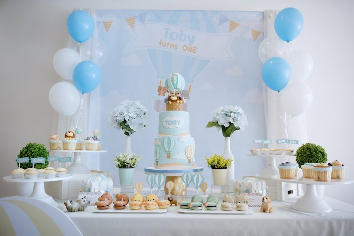 Hot Air Balloon and Animal Themed Dessert Table from an Animals & Hot Air Balloons Birthday Party on Kara's Party Ideas | KarasPartyIdeas.com (18)