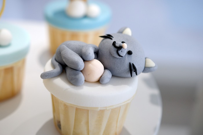 Cat Cupcake + Cupcake Topper from an Animals & Hot Air Balloons Birthday Party on Kara's Party Ideas | KarasPartyIdeas.com (13)