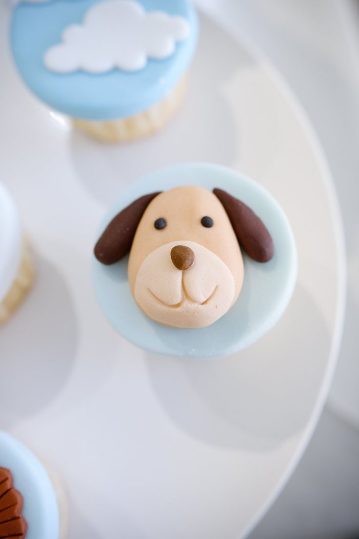 Dog Cupcake Topper from an Animals & Hot Air Balloons Birthday Party on Kara's Party Ideas | KarasPartyIdeas.com (12)