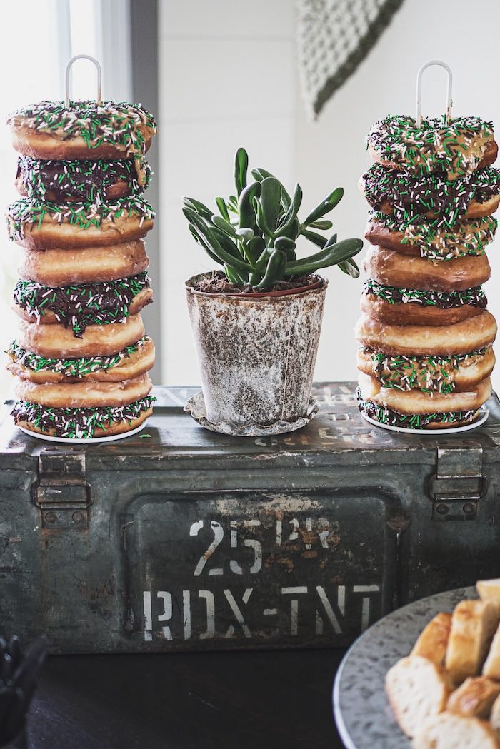 Stacked & Sprinkled Camo Donuts from an Army Camouflage Birthday Party on Kara's Party Ideas | KarasPartyIdeas.com (11)