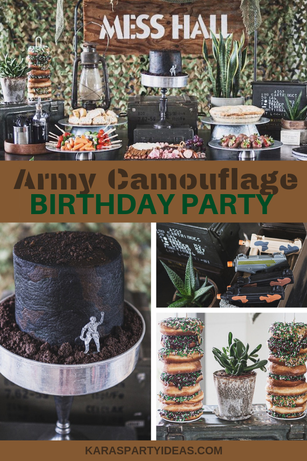 Fantastic Karas Party Ideas Army Camouflage Birthday Party Karas Party Ideas Funny Birthday Cards Online Overcheapnameinfo