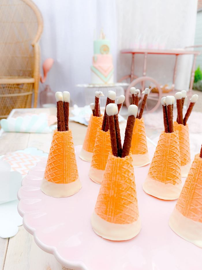 Sugar Cone Teepees from a Boho Dreamcatcher Sleepover Birthday Party on Kara's Party Ideas | KarasPartyIdeas.com (19)