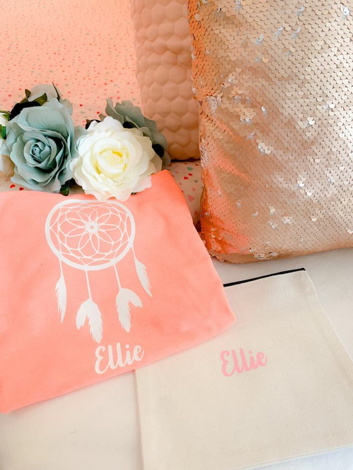 Personalized Boho Favor Bags from a Boho Dreamcatcher Sleepover Birthday Party on Kara's Party Ideas | KarasPartyIdeas.com (18)
