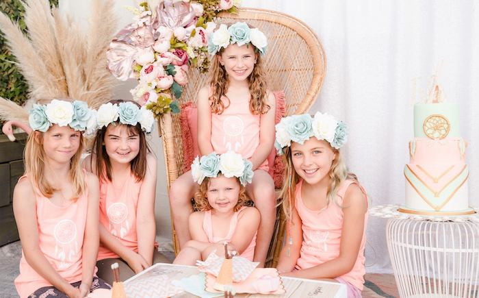 Big Floral Crowns from a Boho Dreamcatcher Sleepover Birthday Party on Kara's Party Ideas | KarasPartyIdeas.com (16)
