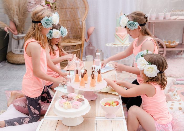 Low-seated Boho Party Table from a Boho Dreamcatcher Sleepover Birthday Party on Kara's Party Ideas | KarasPartyIdeas.com (7)