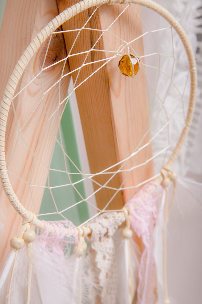 Girly Glam Dreamcatcher from a Boho Dreamcatcher Sleepover Birthday Party on Kara's Party Ideas | KarasPartyIdeas.com (6)