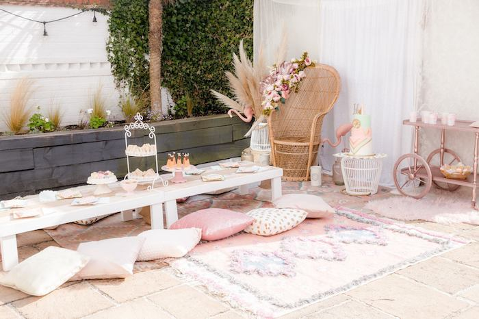 Boho Party Table from a Boho Dreamcatcher Sleepover Birthday Party on Kara's Party Ideas | KarasPartyIdeas.com (23)