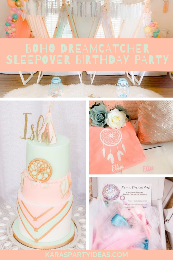 Boho Dreamcatcher Sleepover Birthday Party via Kara's Party Ideas - KarasPartyIdeas.com
