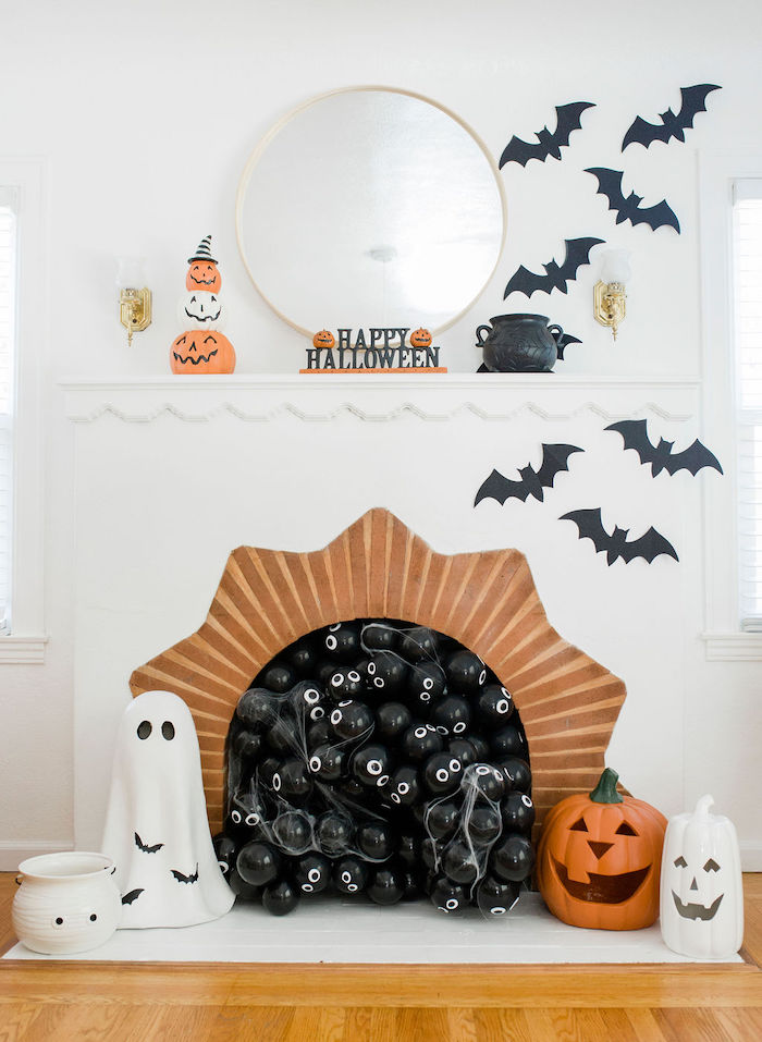 Halloween-decorated Fireplace from a Classic Halloween Party for Kids on Kara's Party Ideas | KarasPartyIdeas.com (32)