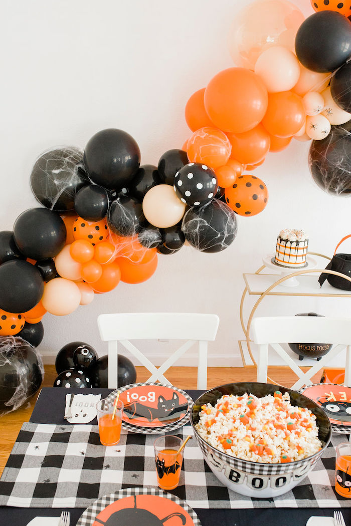 Halloween Party Table + Balloon Garland from a Classic Halloween Party for Kids on Kara's Party Ideas | KarasPartyIdeas.com (30)