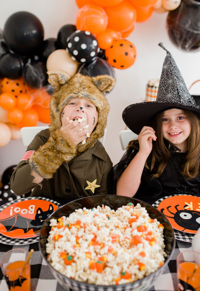 Halloween Popcorn from a Classic Halloween Party for Kids on Kara's Party Ideas | KarasPartyIdeas.com (29)