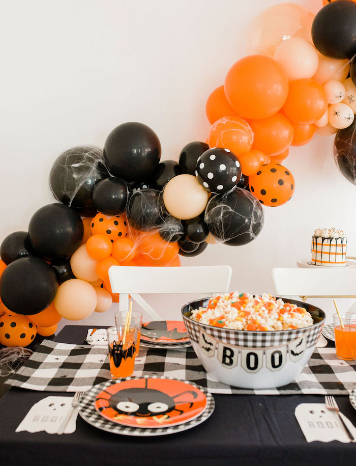 Halloween Party Table from a Classic Halloween Party for Kids on Kara's Party Ideas | KarasPartyIdeas.com (20)