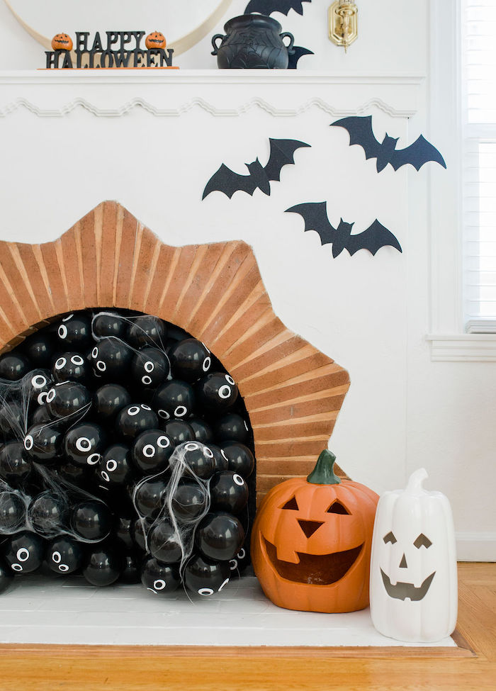 Spider & Bat Fireplace from a Classic Halloween Party for Kids on Kara's Party Ideas | KarasPartyIdeas.com (8)