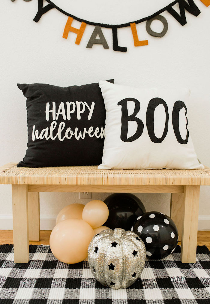 Halloween Bench + Decor from a Classic Halloween Party for Kids on Kara's Party Ideas | KarasPartyIdeas.com (7)