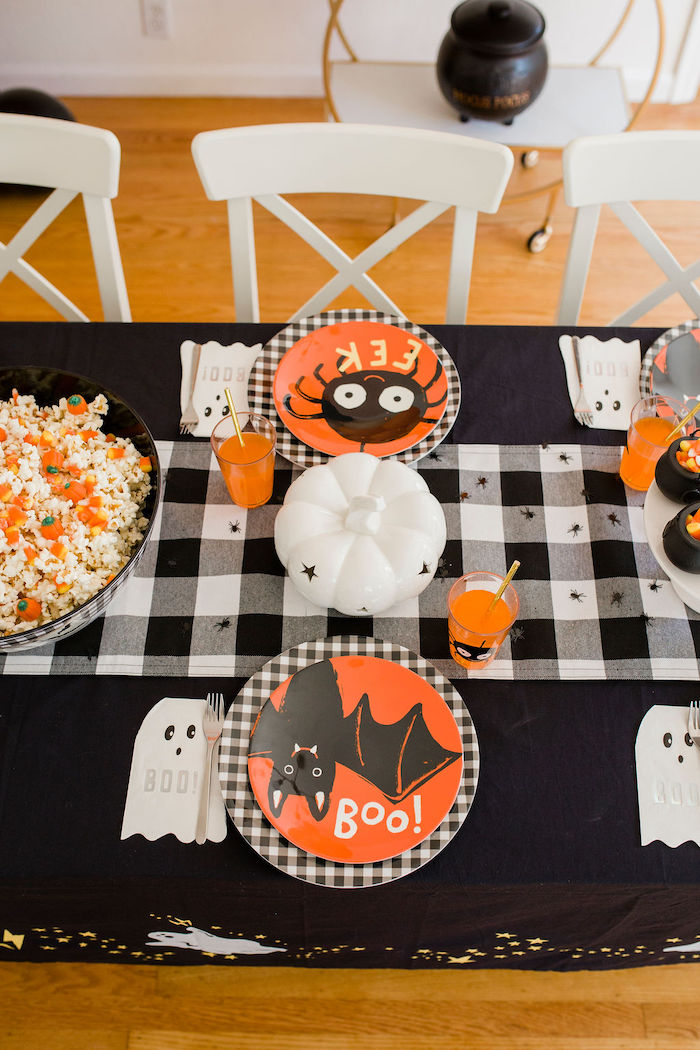 Halloween Themed Party Table from a Classic Halloween Party for Kids on Kara's Party Ideas | KarasPartyIdeas.com (39)