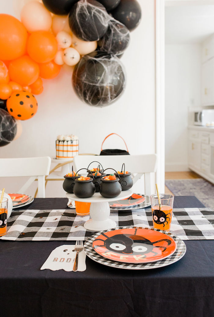 Halloween Spider Table Setting + Party Table from a Classic Halloween Party for Kids on Kara's Party Ideas | KarasPartyIdeas.com (34)