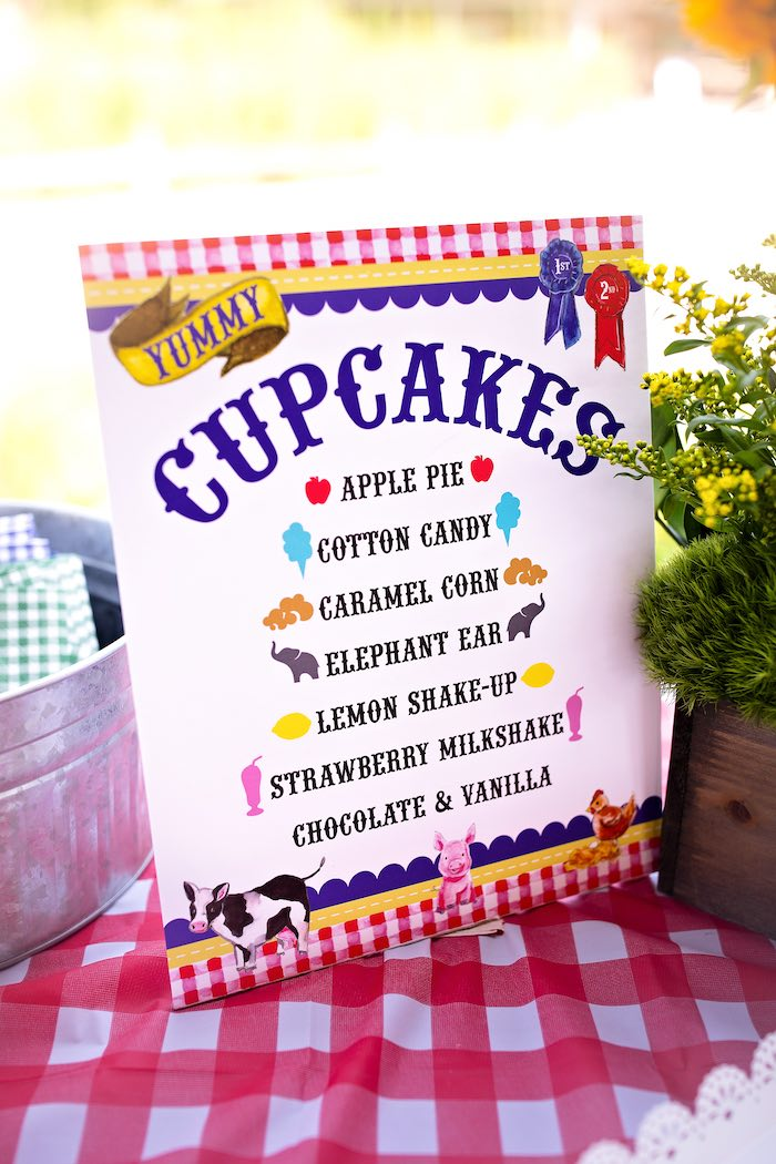 Cupcake Menu + Signage from a County Fair Inspired Farm Birthday Party on Kara's Party Ideas | KarasPartyIdeas.com (43)