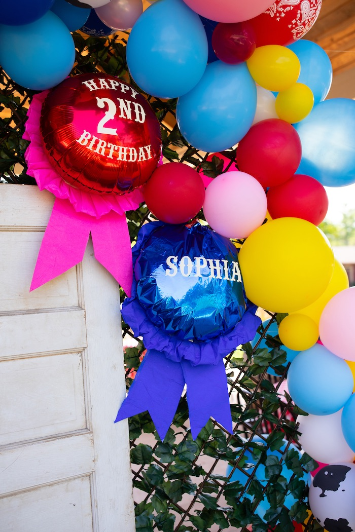 Balloon Ribbons from a County Fair Inspired Farm Birthday Party on Kara's Party Ideas | KarasPartyIdeas.com (19)