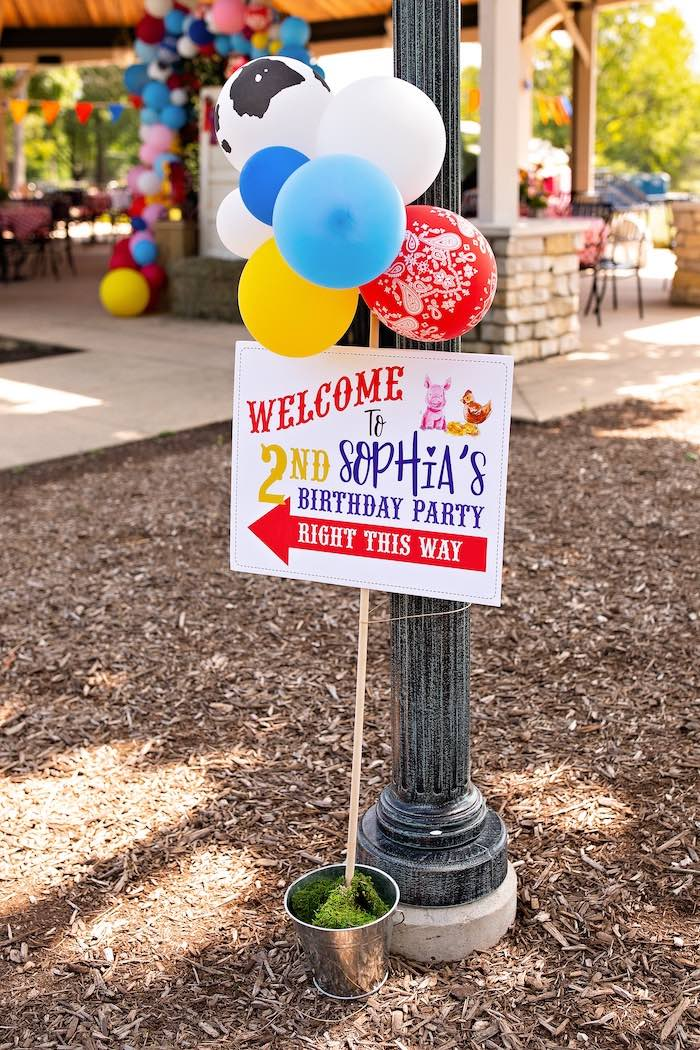 Farm Themed Welcome Sign from a County Fair Inspired Farm Birthday Party on Kara's Party Ideas | KarasPartyIdeas.com (17)
