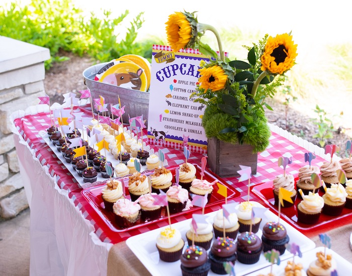 Cupcake Dessert Table from a County Fair Inspired Farm Birthday Party on Kara's Party Ideas | KarasPartyIdeas.com (15)