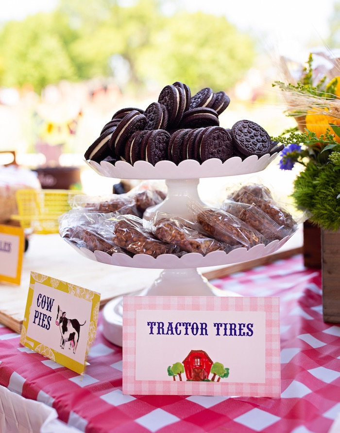 Tractor Tire Oreos + Dessert Label from a County Fair Inspired Farm Birthday Party on Kara's Party Ideas | KarasPartyIdeas.com (11)