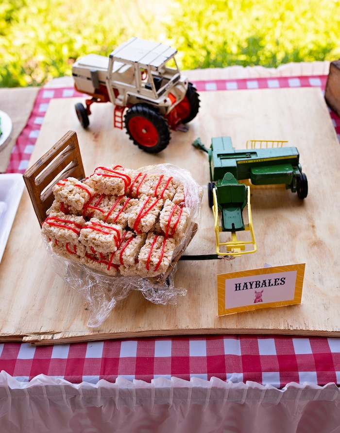 Hay Bale Rice Krispie Treat Tractor Dessert Board from a County Fair Inspired Farm Birthday Party on Kara's Party Ideas | KarasPartyIdeas.com (8)