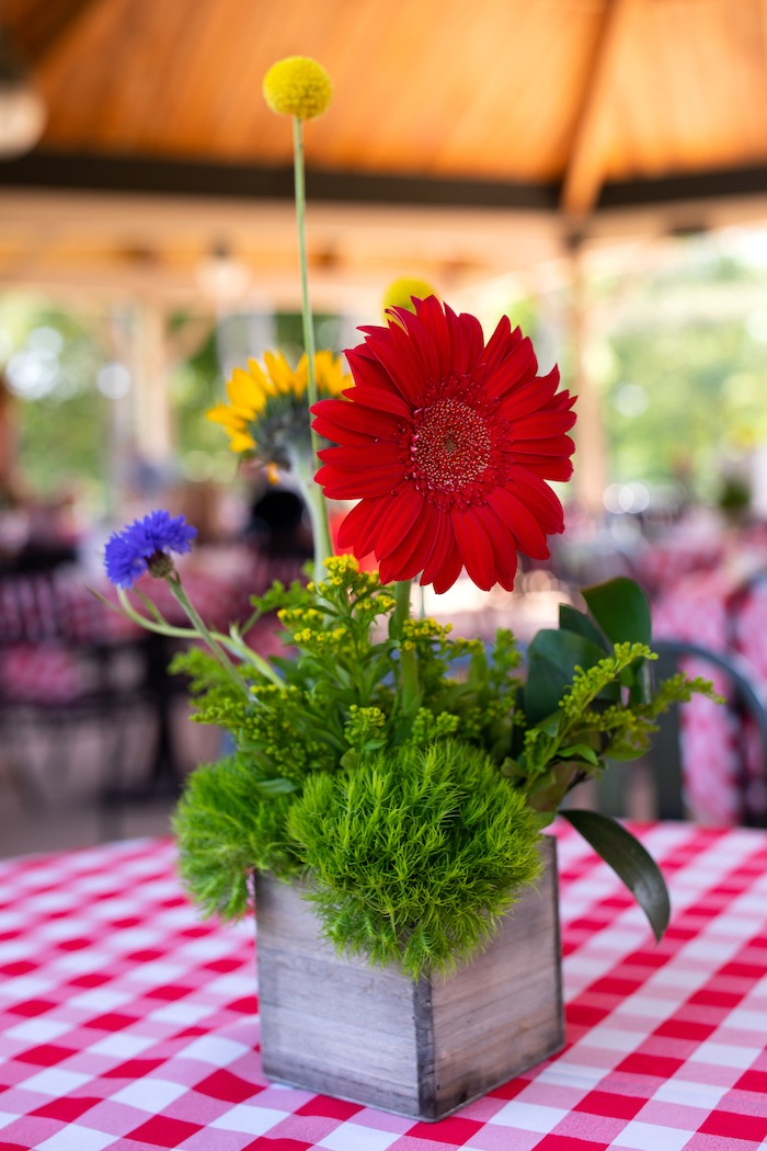 Farm Themed Floral Arrangement + Centerpiece from a County Fair Inspired Farm Birthday Party on Kara's Party Ideas | KarasPartyIdeas.com (37)