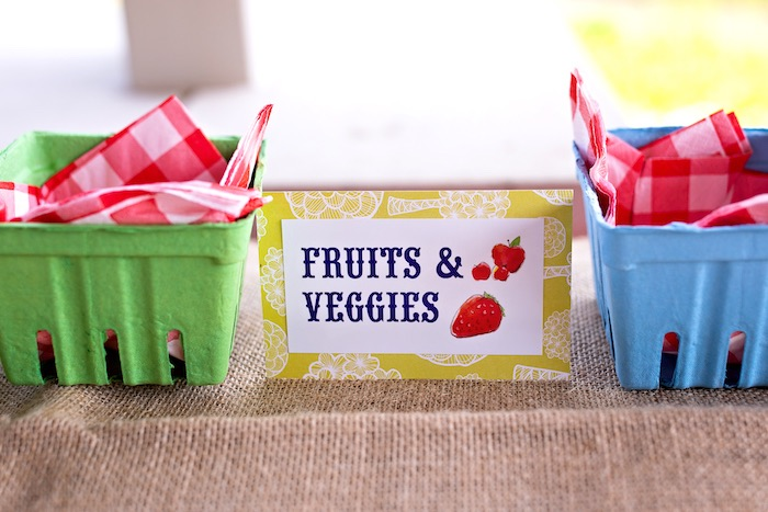 Fruit and Veggie Baskets from a County Fair Inspired Farm Birthday Party on Kara's Party Ideas | KarasPartyIdeas.com (35)