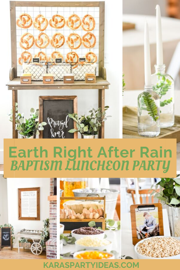 Earth Right After Rain Baptism Luncheon Party via Kara's Party Ideas - KarasPartyIdeas.com