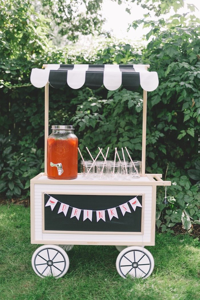 Drink Cart/Stand from an End of Summer Watermelon Party on Kara's Party Ideas | KarasPartyIdeas.com (17)
