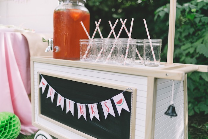 Drink Cart/Station from an End of Summer Watermelon Party on Kara's Party Ideas | KarasPartyIdeas.com (15)