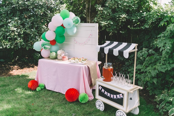 Watermelon Themed Party Tables from an End of Summer Watermelon Party on Kara's Party Ideas | KarasPartyIdeas.com (14)