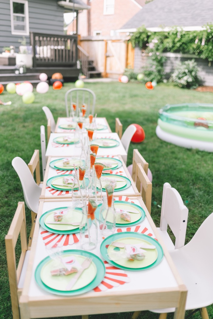 Watermelon Themed Guest Table from an End of Summer Watermelon Party on Kara's Party Ideas | KarasPartyIdeas.com (11)