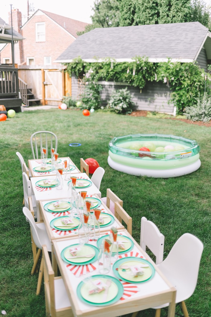 Watermelon Themed Guest Table from an End of Summer Watermelon Party on Kara's Party Ideas | KarasPartyIdeas.com (10)