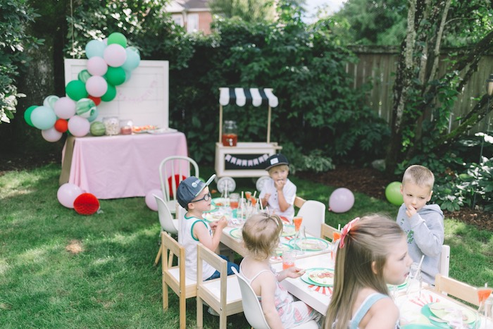 Kids Snacking at an End of Summer Watermelon Party on Kara's Party Ideas | KarasPartyIdeas.com (3)